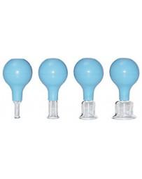 Ventouses en verre pour massage facial - set de 4 pièces Ø intérieur 0,8 cm, 1,5 cm, 2 cm et 3,5 cm