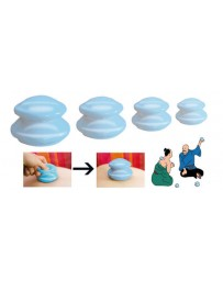 Cupping cups in silicone - set of 4 pieces : Ø inside 3 cm, 4 cm, 5 cm and 6 cm